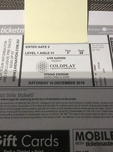 Coldplay Tickets x 2 at Etihad Stadium. Cost Price. 10 December Docklands Melbourne City Preview