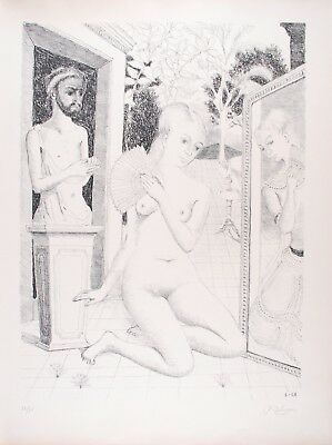 Paul DELVAUX s/n Original Lithography L'Eventail 1968 - Mira Jacob N°20