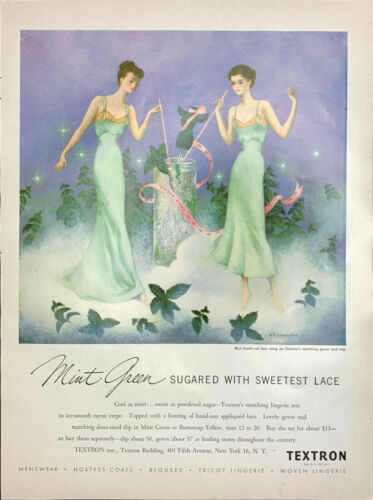 Vintage 1949 Vogue Textron Mint Green Laced Nighty Print Ad Advertisement