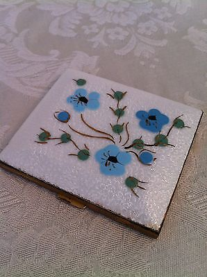 Vintage 60's Marhill Painted Flowers Guilloche Enamel Powder Compact