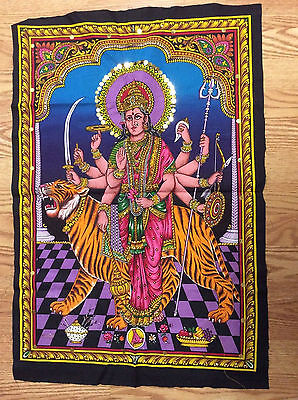 MATA KALI DURGA Painting Fabric Tapestry God Hindu India Sequins free Shipping