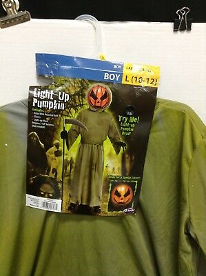 Boys Large 10-12 light up Pumpkin Robe Belt Only Halloween  Costume