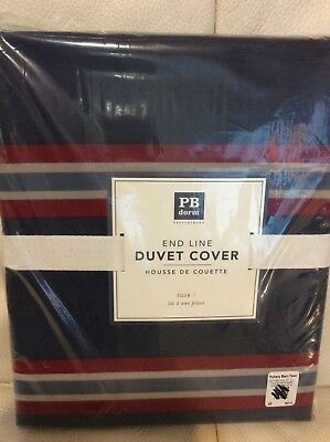 Pottery Barn Dorm Teen End Line Striped Duvet Cover Twin NWT Navy Blue Red Sport Blue Striped Duvet Cover