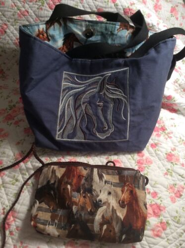 Horse Purse Lot 2 Bags Embroidered Blue Brown Adjustable OOAK EC FREE SHIPPING
