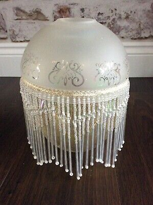 Art Deco Etched Glass Shade Beaded Tassel 6 inches
