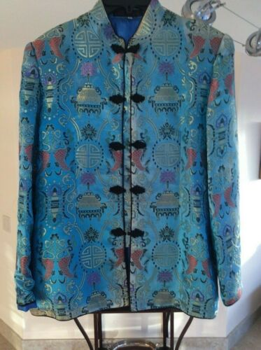 vintage antique Chinese China female blue silk jaket rich embroidered