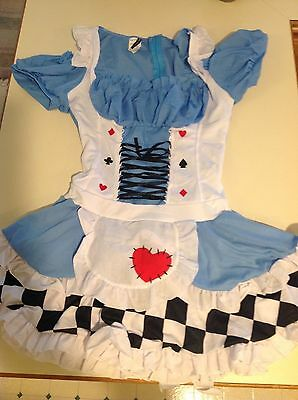 Sexy Alice In Wonderland Blue Queen Of Hearts Mini Dress Halloween Costume LG