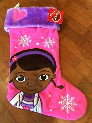 DISNEY Doc McStuffins CHRISTMAS STOCKING PINK PLUSH with Snowflakes Applique N