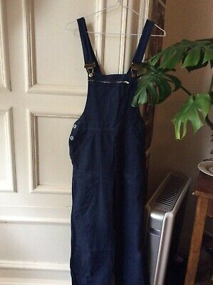 Vintage Fitted Blue Flared Dungarees Jumpsuit, Soft Cotton Denim, Women's Small