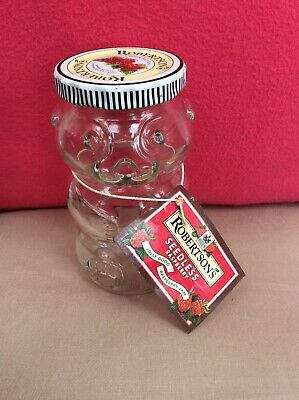 Vintage Robertson's Teddy Bear Shaped Jam Jar with original tag
