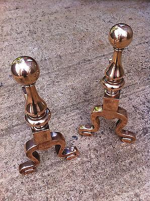 Antique Art Nouveau Copper Companion Andirons Rests Set Fireplace Tools (TA065)