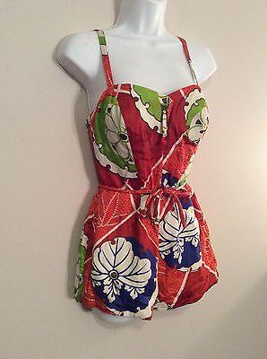 Vintage Kamehameha 1950s Hawaiian Print Floral Bathing Suit Size Small