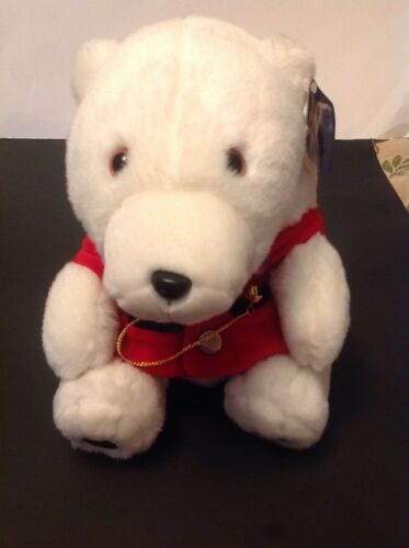 Rare Coca-Cola 1993 Vintage Polar Bear Plush With  Gold WATCH and Pin, Red Vest.