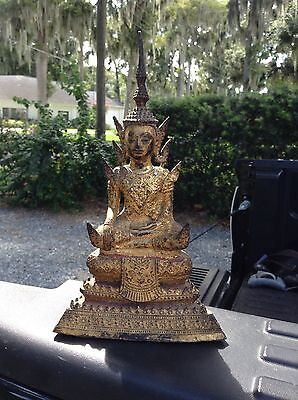 Antique bronze buddha Thai Thailand - Gold Gilt