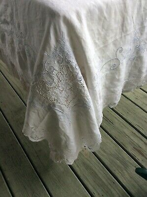 "68""x108 FORMAL VINT FINE LINEN TABLECLOTH wide FILET EDGE Italian Lace inserts"