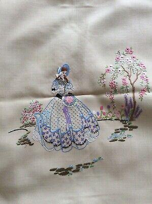 ☘️Antique large  crinoline lady hand emb  sampler from Northern Ireland  ☘️