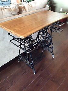 Antique live edge sewing table
