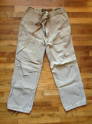 Abercrombie 1892 Men's Khaki Pants 32L Tan India Drawstring AF92 Hiking Fishing