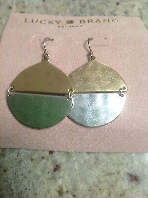 Lucky Brand Two Toned Hammered Metal Hanging Earrings