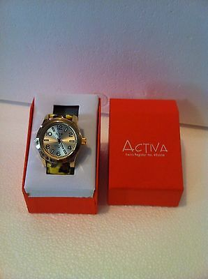 ACTIVA WOMEN SWISS ANIMAL PRINT WATCH:YLW/BLK/BRN(2ND HAND)WATER RESIST*FREE CD