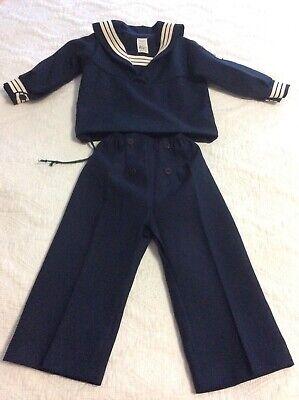 Kid Sailor Costume (Vintage Navy Childs Sailor Outfit Cracker Jack Costume Top/Pants Sz)