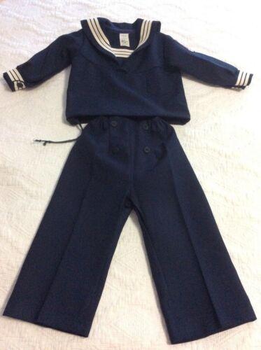 Vintage Navy Childs Sailor Outfit Cracker Jack Costume Top/Pants Sz 3T