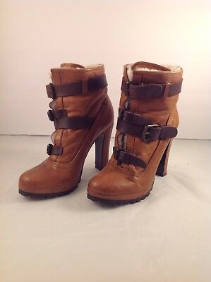 "Dolce Vita ""Josh"" Brown Leather-Shearling Lined-Buckled Ankle Booties Sz 7M"