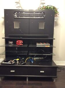 Black Tv Stand with 2 drawers in good condition