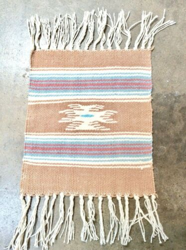 Chimayo Rug, Mat Southwest, New Mexico Vintage Handwoven Tan Textile Wool 10x9
