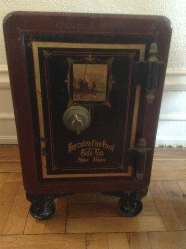 Antique Vintage Hercules Company Hand-Painted Fireproof Personal Safe