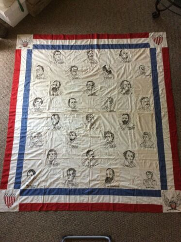 RARE Antique Hand Embroidered Presidential Quilt Top 72x83 inches
