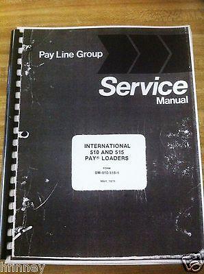 Payloader Hough 510 515 Wheel Loader Service Shop Manual Book Sm-510515-1 Plain
