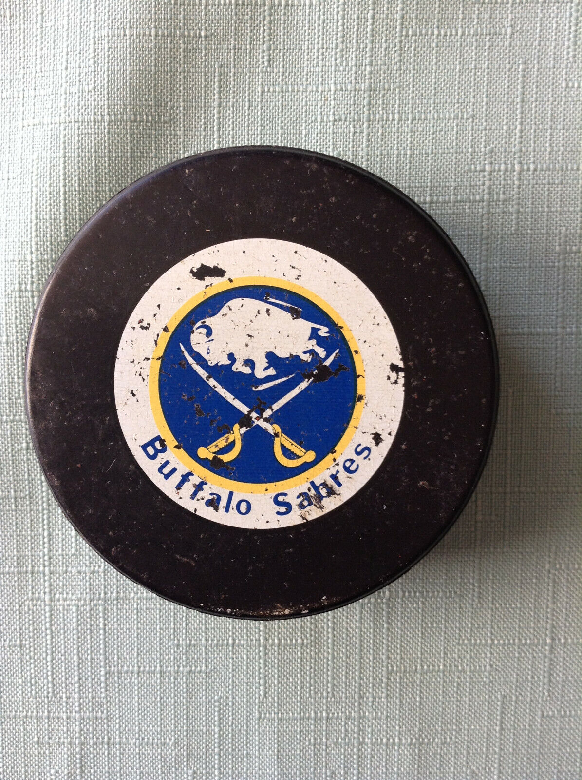 Buffalo Sabres Puck Game Used Puck 1987-92 Ziegler General Tire Small Logo NHL