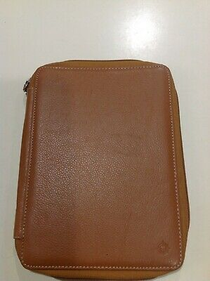 Franklin Covey Classic No Ring Binder Organizer Brown 7 X 9.5 Card Pen Holder
