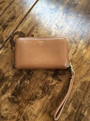 Womens Wallets/Fossil Brown Leather Zip Wallet/Wristlet for sale  Shipping to India