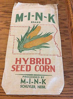 Old Cloth Farm Corn Seed Sack Mink Hybrid Schuyler Nebraska State Map