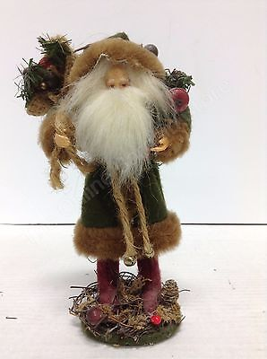 Rustic Santa Claus Figurine Green Coat brown trim red boots Christmas