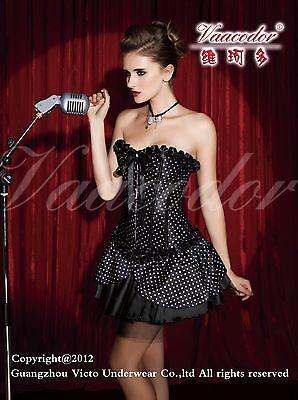 Women Micky Mouse Halloween Costume Black Polka Dot Corset & skirt & headband (Polka Dot Skirt Halloween)
