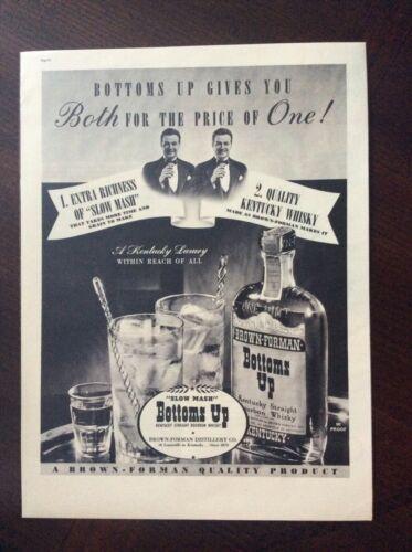 1937 vintage Original ad Brown-Foreman Bottums Up Kentucky Straight Whiskey