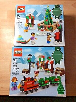 LEGO Christmas Lot 2 Sets Town Square (40263) Train Ride (40262) New In Box Tree