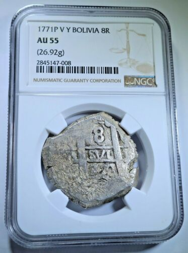 NGC AU-55 1771 Spanish Bolivia Silver 8 Reales Antique Colonial Dollar Cob Coin