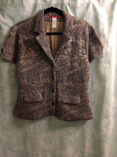Gorgeous Sweater Blazer Mauve/silver knit print Short Sleeve Anne Klein  Size L
