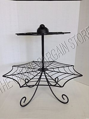 Grandinroad Halloween metal Spider Web Cupcake Dessert Food Stand 2 Tier Party](Halloween Spider Web Cupcakes)