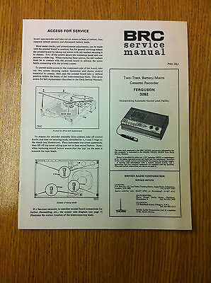 FERGUSON 3262 Two-Track Battery/Mains Cassette Recorder Service Manual - Vintage