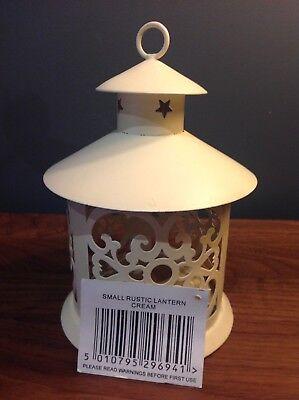 ORCHID LIVING New Small Rustic Lantern Candle Tea Light Holder Soft Cream H19 Cm