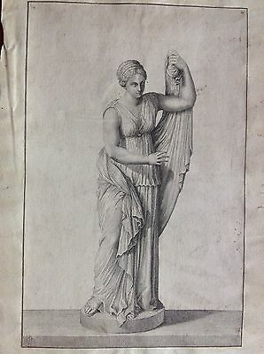 Statue feminine Woman antique roman muse (author ignoto) etching XVIII century