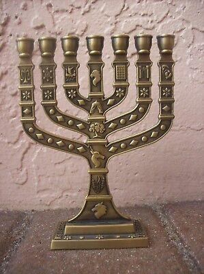 Karshi JERUSALEM Plated Temple Menorah Made in ISRAEL with 12 Tribe Symbols NEW