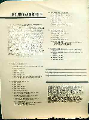 1968 COMIC BOOK ALLEY AWARDS BALLOT vintage one-page ballot