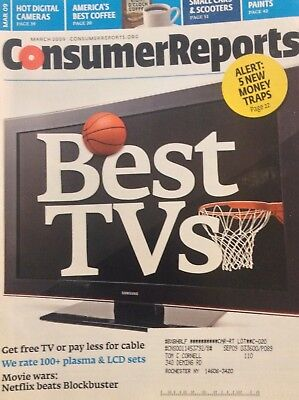 Consumer Reports Magazine Best TVs For Less March 2009