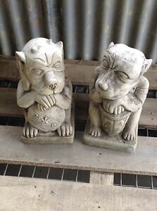 Temple Dogs pair of concrete garden ornaments statues Waterford Logan Area Preview